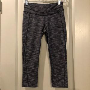 Lucy   Gray & Black Striped Crop Workout Leggings